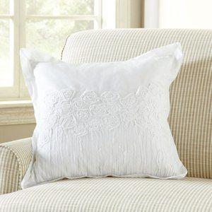 """Rosebud Applique 20"""" Throw Pillow Cover"""